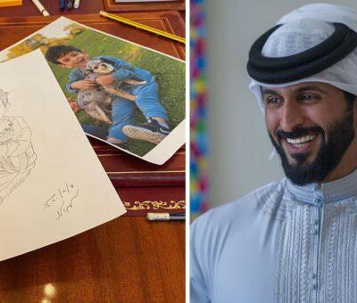 HH Sheikh Nasser Bin Hamad Al Khalifa Drew A Portrait Of His Son