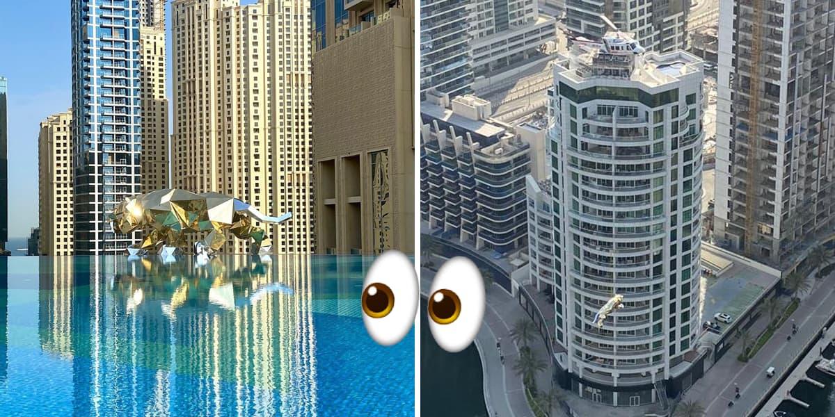 Golden Statues Above Dubai