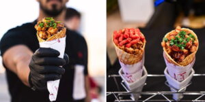 Chicken Tenders Served In A Waffle Cone